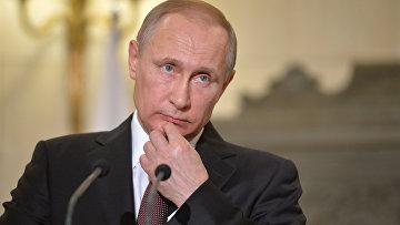 Президент России Владимир Путин во время пресс-конференции в Афинах