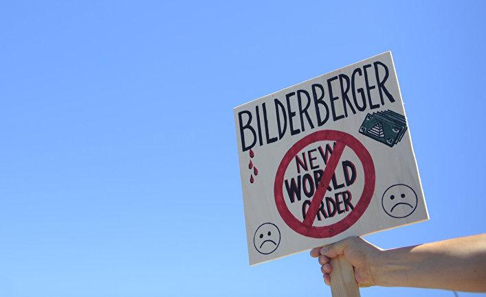 Акция протеста во время встречи Бильдербергской группы в Сиджесе