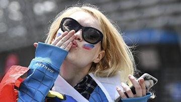 Российская болельщица перед матчем группового этапа чемпионата Европы по футболу - 2016