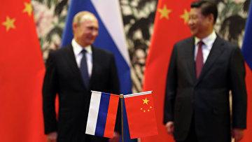 Президент России Владимир Путин и председатель КНР Си Цзиньпин. Архивное фото