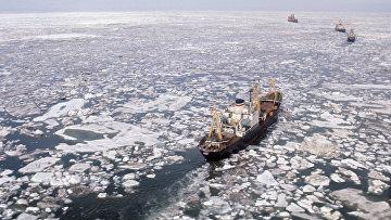 Атомный ледокол «Арктика» во главе каравана судов в Восточно-Сибирском море