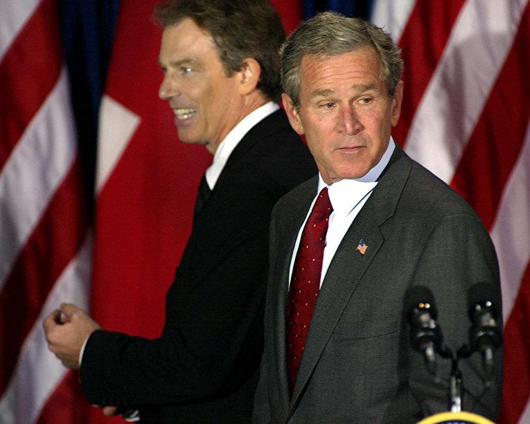 Премьер-министр Великобритании Тони Блэр и президент США Джордж Буш