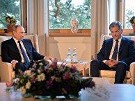 Президент РФ Владимир Путин и президент Финляндской Республики Саули Ниинистё во время встречи в Наантали