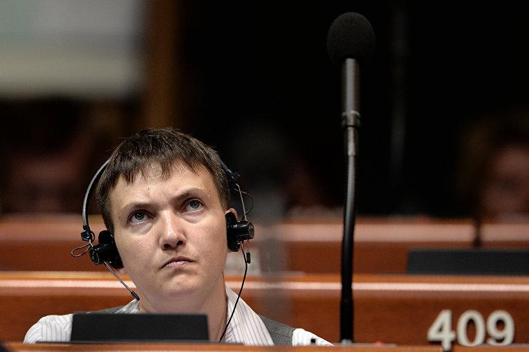 Надежда Савченко на заседании ПАСЕ