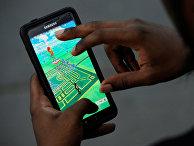 Виртуальная карта парка Брайант на экране смартфона в мобильной игре Pokemon GO