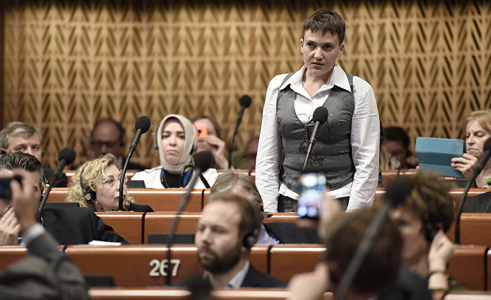 Надежда Савченко выступает на заседании ПАСЕ