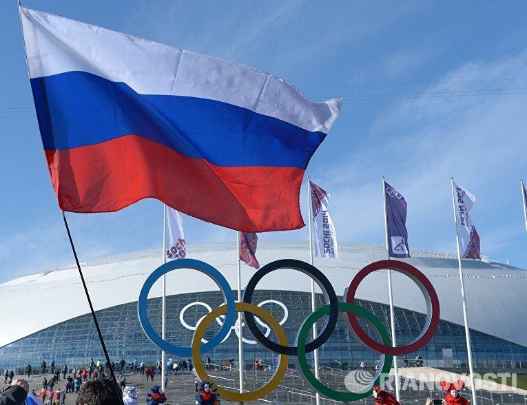 Болельщики с российским флагом в Олимпийском парке Сочи