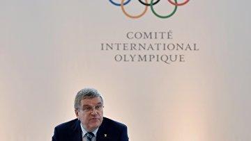 Пресс-конференция президента Международного олимпийского комитета Томаса Баха