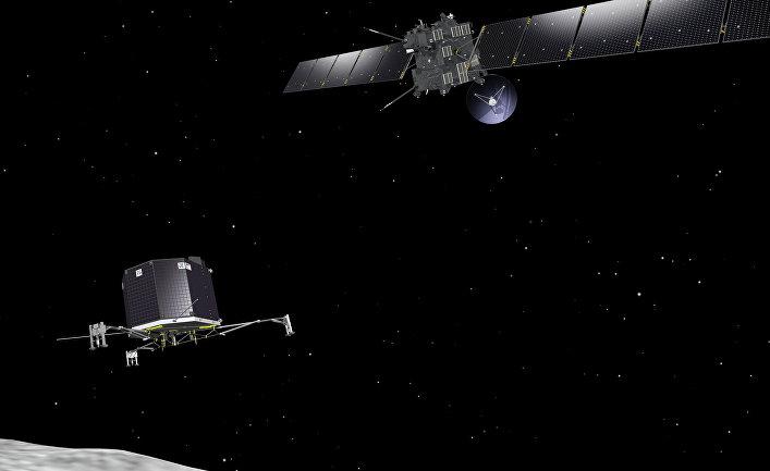 Зонд Rosetta развертывает посадочный модуль Philae на комете