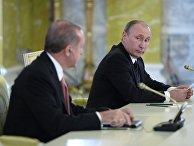 Президент России Владимир Путин и президент Турции Реджеп Тайип Эрдоган на пресс-конференции по итогам российско-турецких переговоров в Константиновском дворц