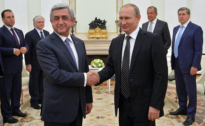 Президент России Владимир Путин и президент Армении Серж Саргсян