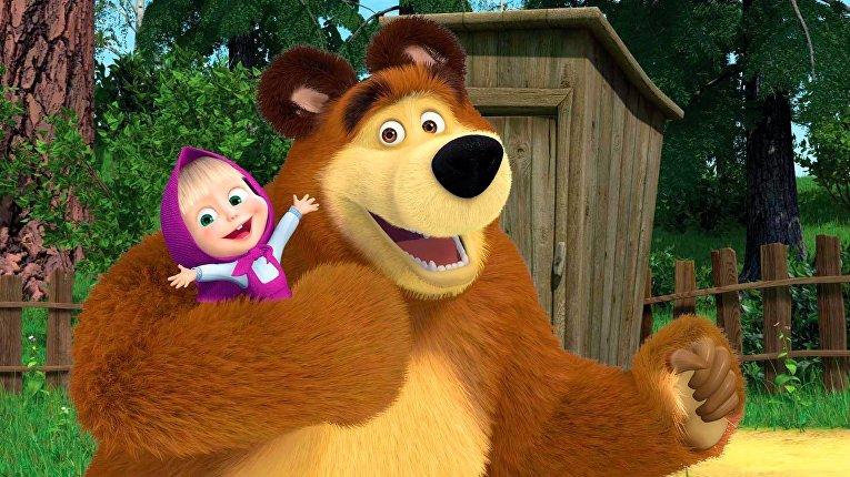 "Кадр из мультфильма ""Маша и МедведьКадр из мультфильма «Маша и Медведь»"