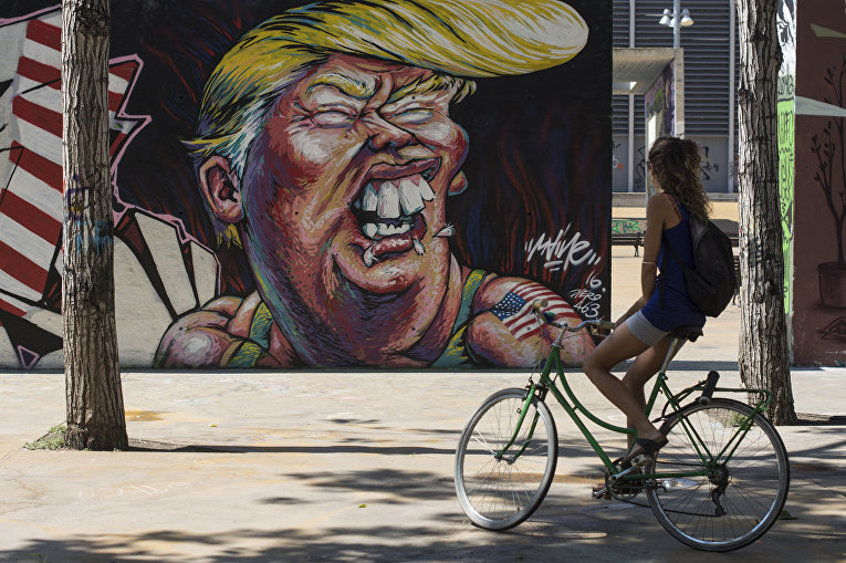 Граффити с изображением кандидата в президенты США от Республиканской партии Дональда Трампа