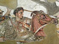Александр Македонский на фрагменте древнеримской мозаики из Помпей, копия с древнегреческой картины