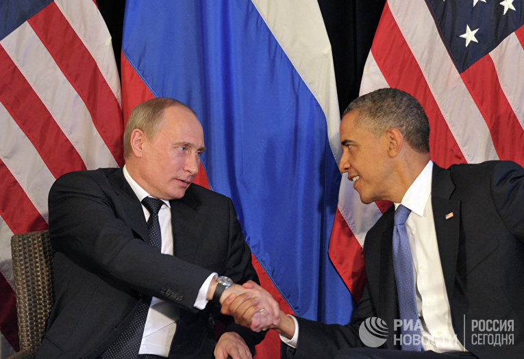 Президент РФ В.Путин встретился с президентом США Б.Обамой