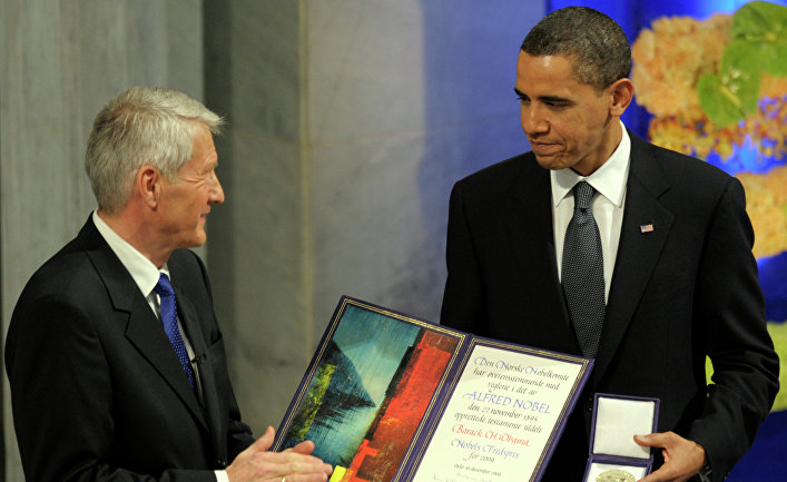 Президент США Барак Обама на церемонии вручения Нобелевской премии мира в Осло