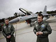 Истребители F-16 на авиабазе Skydstrup в Ютландии, Дания