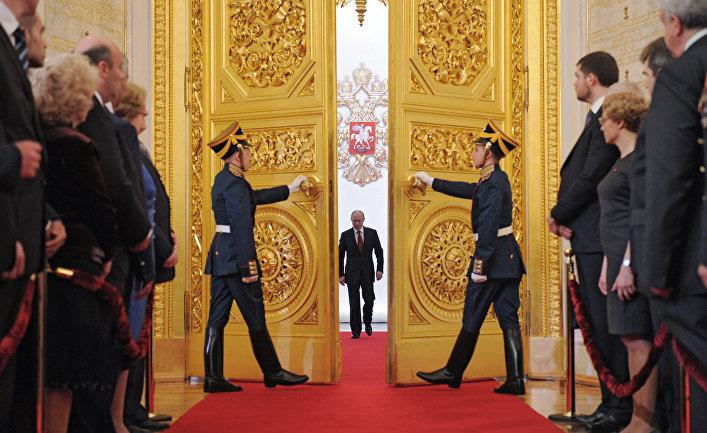 Избранный президент РФ Владимир Путин во время церемонии инаугурации