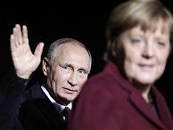 Президент России Владимир Путин и канцлер ФРГ Ангела Меркель в Берлине