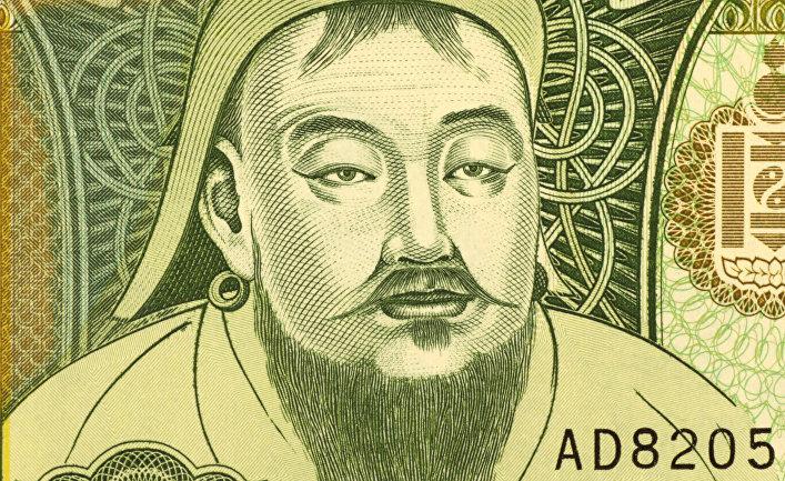 Портрет Чингисхана на монгольском тугрике