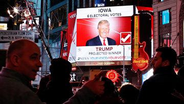 Результаты президентских выборов в США на площади Таймс-сквер в Нью-Йорке