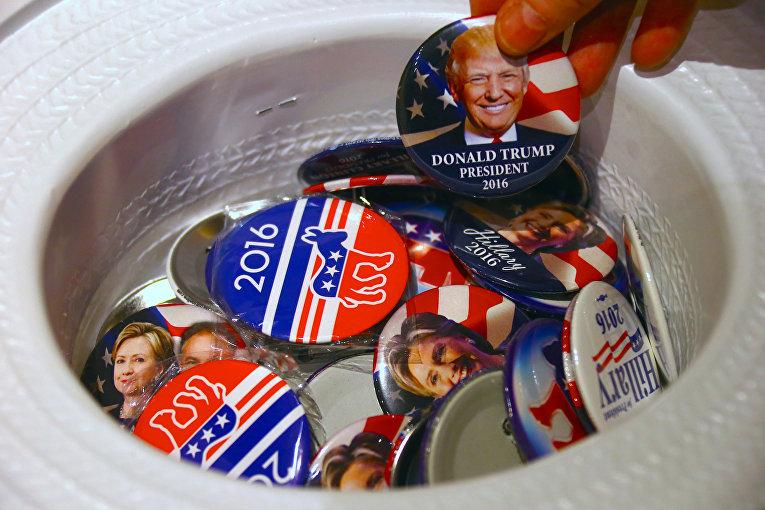 Значки с изображением кандидатов в президенты США