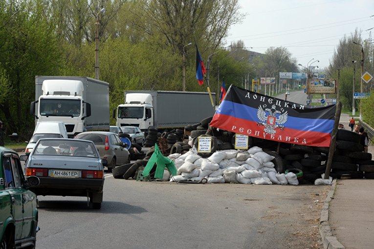 Блокпост на выезде из Краматорска в сторону Славянска