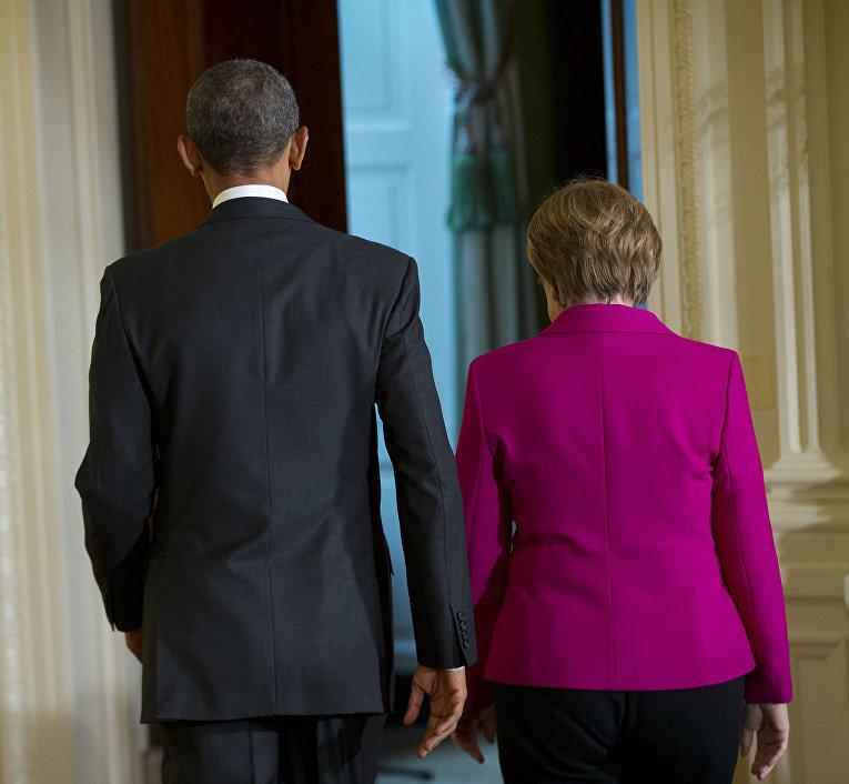 Барак Обама и Ангела Меркель после совместной пресс-конференции в Белом доме