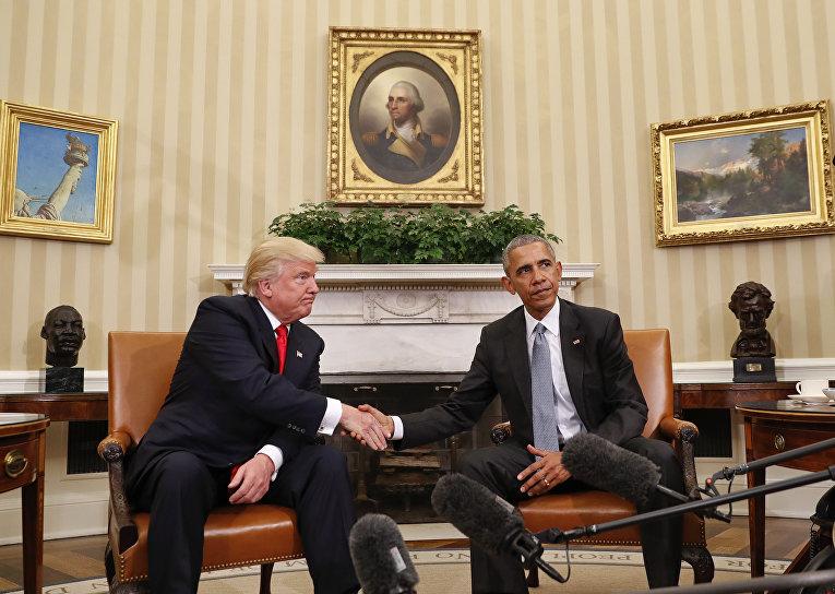 Дональд Трамп на встрече с президентом США Бараком Обамой в Белом доме