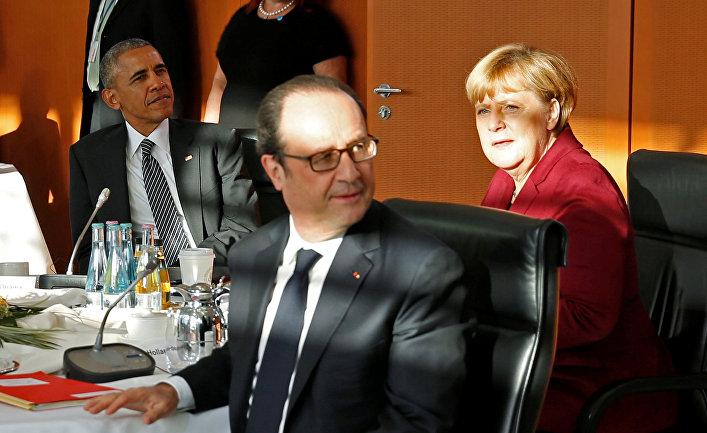 Президент США Барак Обама и главы европейских государств на встрече в Берлине