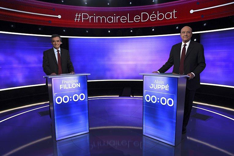 Дебаты французских политиков Алена Жюппе и Франсуа Фийона в Париже