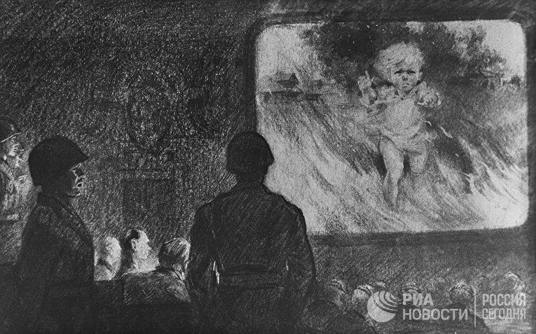 Репродукция картины Н. Н. Жукова «Демонстрация фактов» из серии «Нюрнбергский процесс»
