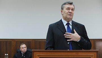 Бывший президент Украины Виктор Янукович дает показания по видеосвязи в Ростовском областном суде