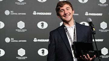 Сергей Карякин на церемонии награждения в Нью-Йорке