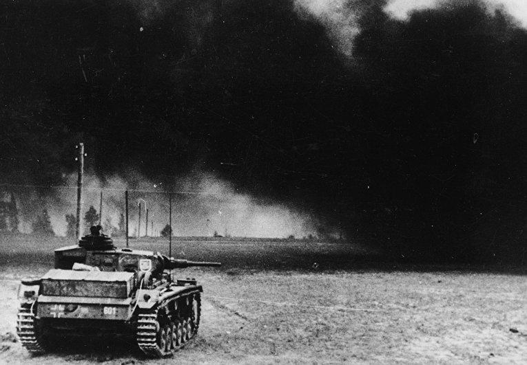 Немецкий танк на подступах к Москве