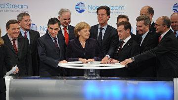 Церемония пуска трубопровода «Северный поток»