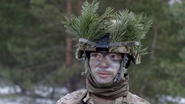 Солдат армии США во время военных учений НАТО «Железный меч 2016»