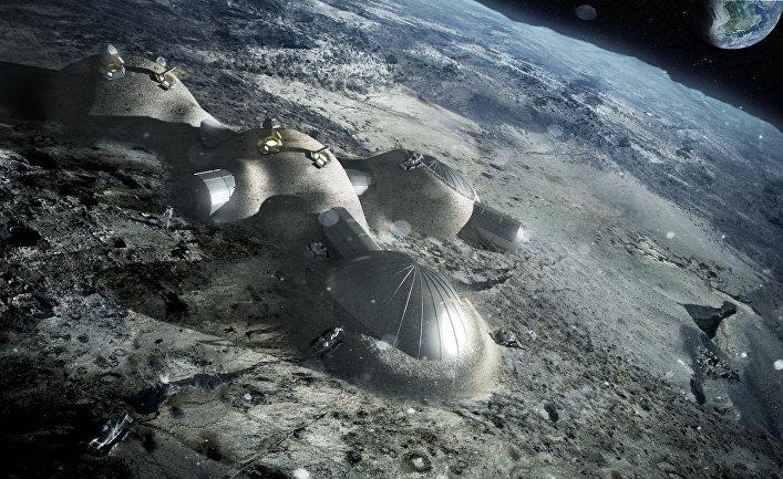 Эскиз проекта «Лунный поселок» Европейского космического агентства (ESA)