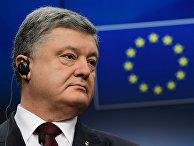 Президент Украины Петр Порошенко во время пресс-конференции в Брюсселе