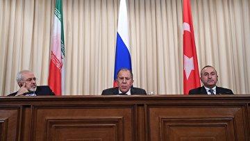 Министры иностранных дел Ирана, России и Турции