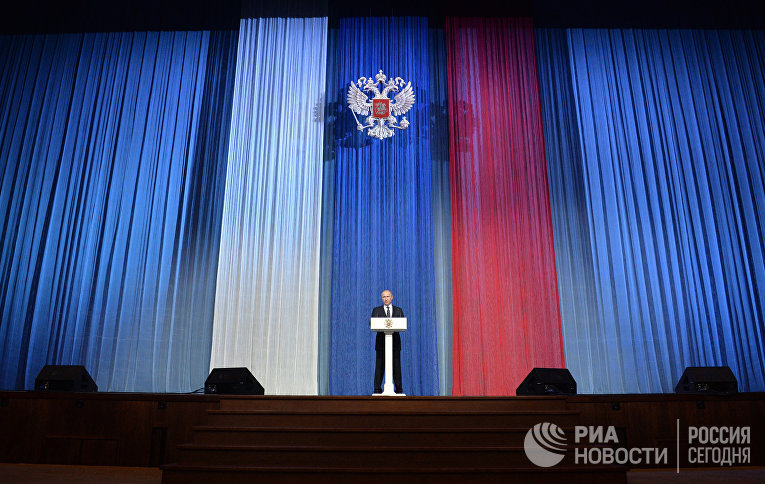Президент России Владимир Путин на торжественном вечере, посвященном Дню работника органов государственной безопасности