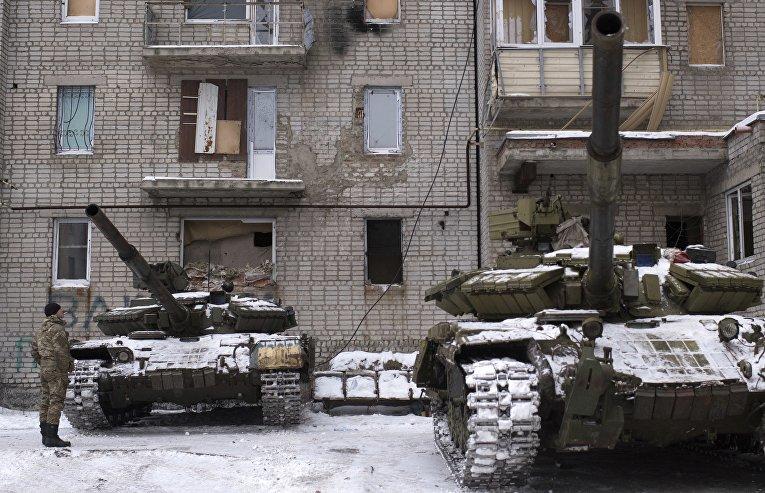 Танки ВСУ в Авдеевке, Украина. 2 февраля 2017