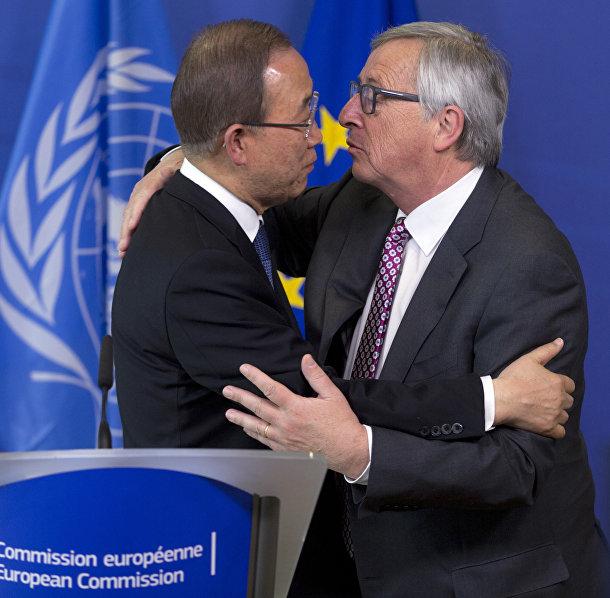 Генеральный секретарь ООН Пан Ги Мун и президент Европейской комиссии Жан-Клод Юнкер