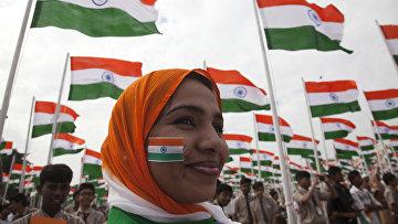 Студенты во время празднования Дня республики в Хайдарабаде