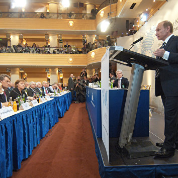 Президент России Владимир Путин во время выступления в Мюнхене. 11 февраля 2007