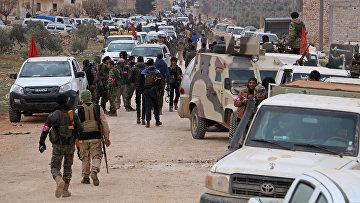 Турецкие военные в районе города Эль-Баб в Сирии
