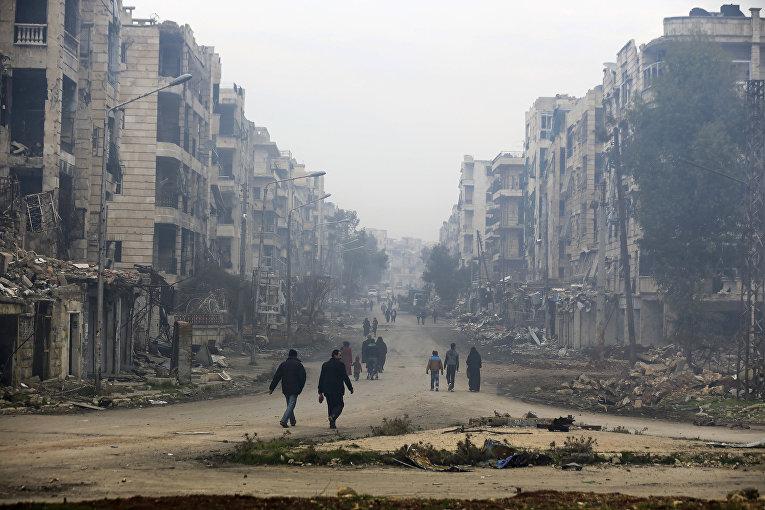 Руины здания в восточной части Алеппо