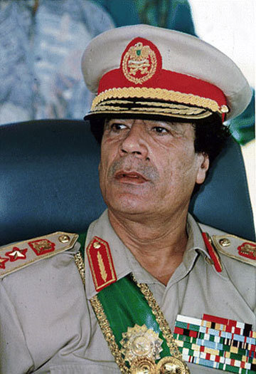 Муаммар Каддафи в фуражке. Архивное фото