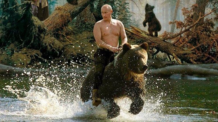 Владимир Путин на медведе