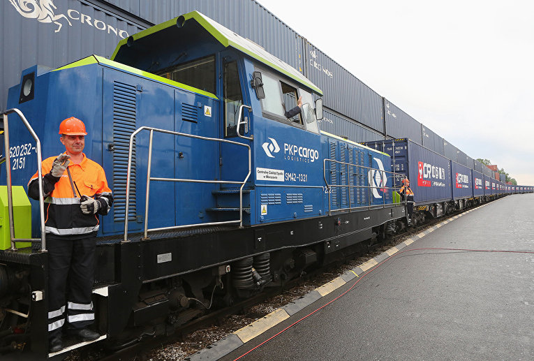 Железнодорожный экспресс, прибывший из Китая в Польшу